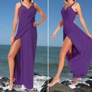 Sarong Swim Coverup maxi dress L purple NEW Venus